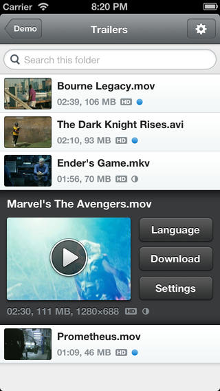 Schermata dell'applicazione Air Video HD per iPhone