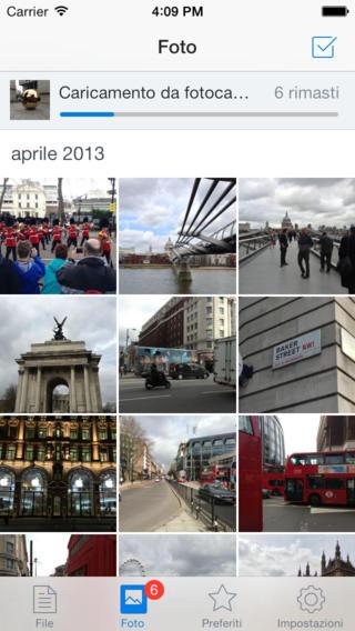 Schermata dell'applicazione Dropbox per iPhone
