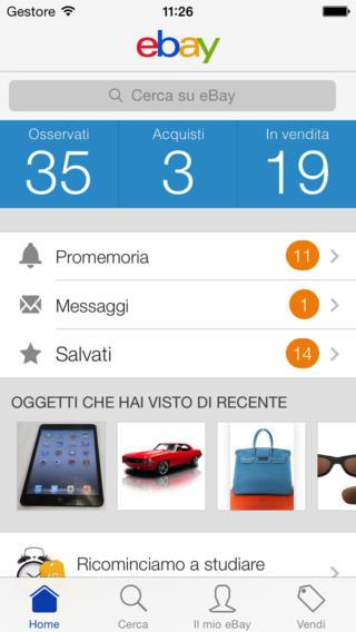 Schermata dell'applicazione eBay per iPhone