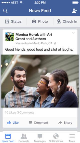 Schermata dell'applicazione Facebook per iPhone