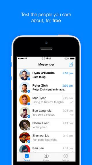 Schermata dell'applicazione Facebook Messenger per iPhone