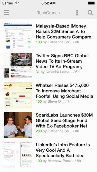 Schermata dell'applicazione Feedly Reader per iPhone