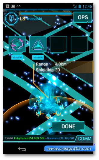 Schermata del gioco Ingress per Android