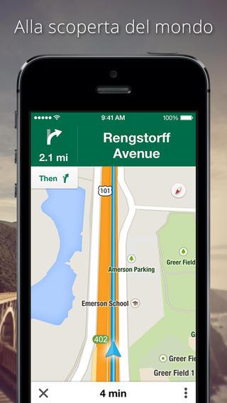 Schermata dell'applicazione Google Maps per iPhone