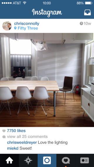 Schermata dell'applicazione Instagram per iPhone
