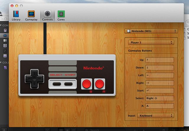 Schermata di configurazione del gamepad di OpenEmu