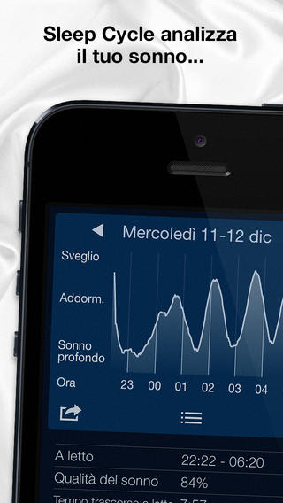 Schermata dell'applicazione Sleep Cycle Alarm Clock per iPhone