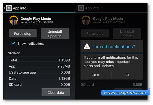 Schermata sulla disattivazione delle notifiche delle applicazioni Android