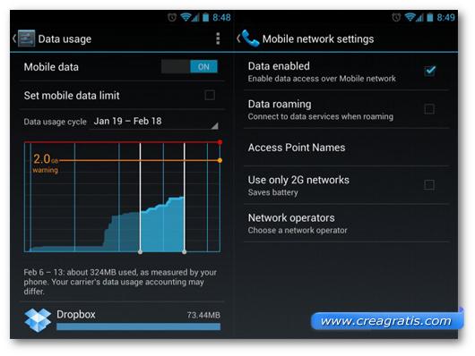 Schermata sulla disattivazione della connessione dati su Android