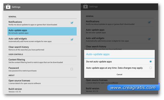 Schermata per disattivare gli aggiornamenti automatici delle applicazioni Android