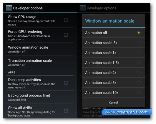 Schermata sulla disattivazione delle animazioni di Android
