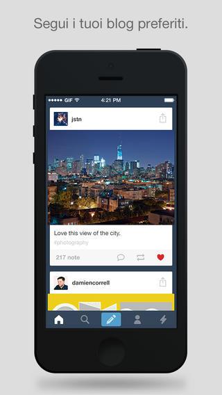 Schermata dell'applicazione Tumblr per iPhone