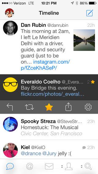 Schermata dell'applicazione Tweetbot per iPhone