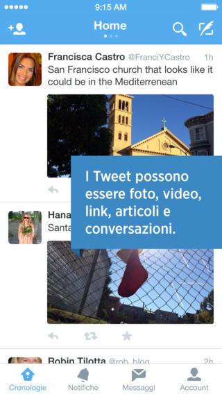 Schermata dell'applicazione Twitter per iPhone
