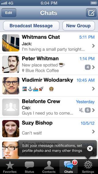 Schermata dell'applicazione WhatsApp per iPhone