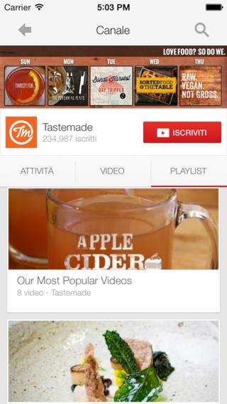 Schermata dell'applicazione YouTube per iPhone