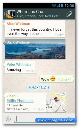 Schermata dell'applicazione WhatsApp per Android