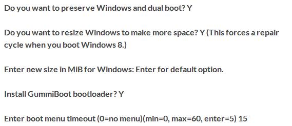 Schermata delle domande e delle risposte che incontriamo prima dell'installazione