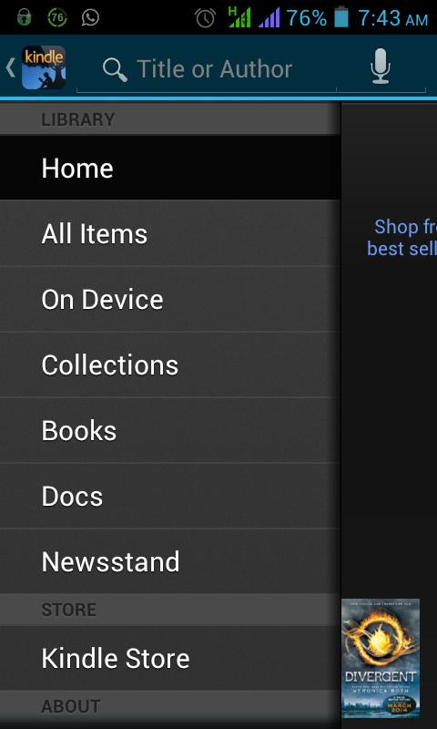 Schermata dell'applicazione Kindle per Android