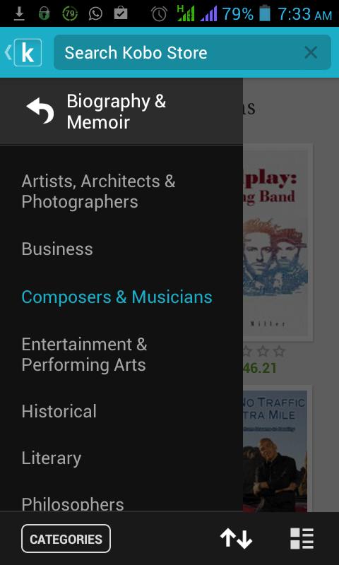 Schermata dell'applicazione Kobo per Android