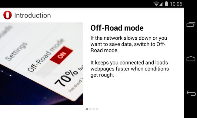 Schermata della modalità Off-Road di Opera