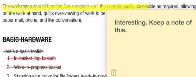 Schermata che mostra l'inserimento sul PDF di una nota su post-it