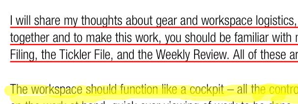 Schermata che mostra il testo sottolineato ed evidenziato di un PDF