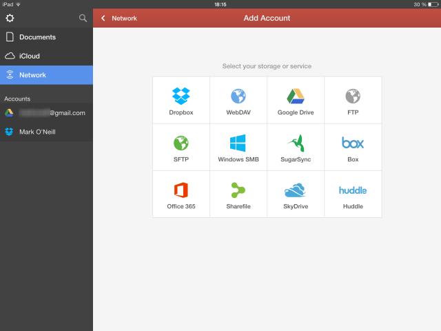 Schermata dell'applicazione con l'elenco dei servizi cloud supportati
