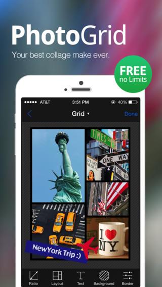 Schermata dell'applicazione PhotoGrid per Android e iPhone