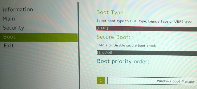 Schermata per disabilitare il Secure Boot