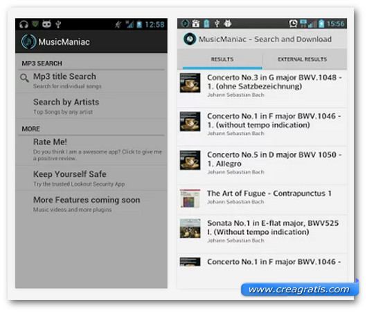 Schermate dell'applicazione Music Maniac - Mp3 Downloader per Android