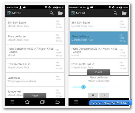 Schermate dell'applicazione Tunee Music per Android