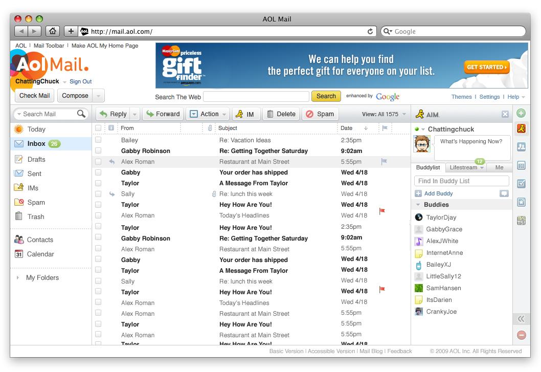 Schermata del servizio AOL Mail