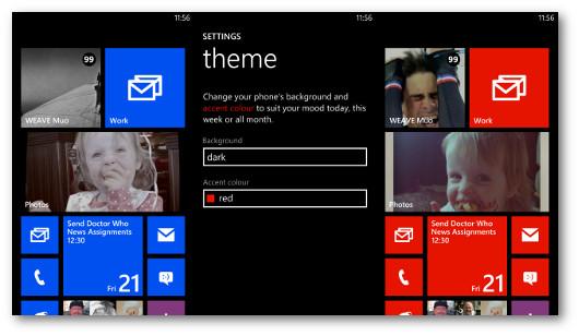 Schermata di modifica del colore delle piastrelle di Windows Phone