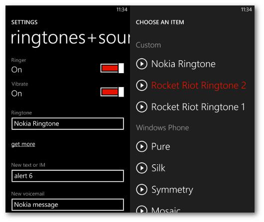 Schermata delle impostazioni per cambiare la suoneria su Windows Phone