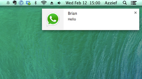Schermata dell'applicazione Desktop Notifications