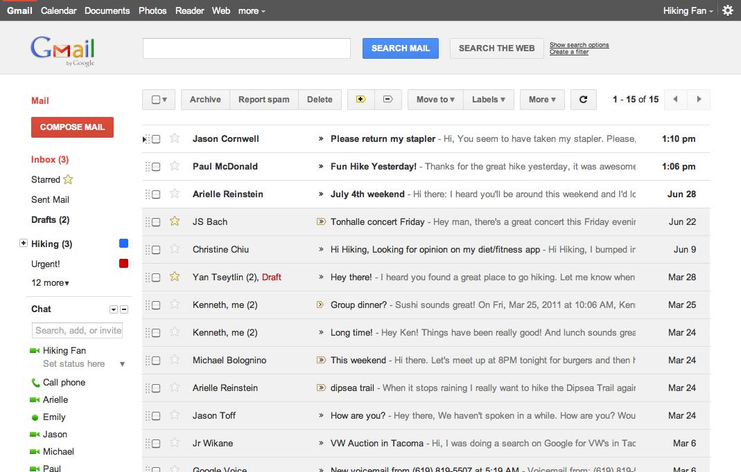 Schermata del servizio Gmail