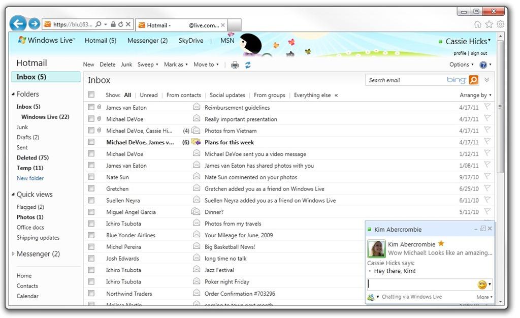 Schermata del servizio Hotmail