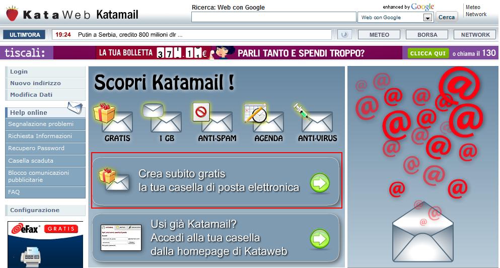 Schermata del servizio Katamail