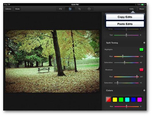 Schermata che mostra l'utilizzo dell'applicazione Luminance