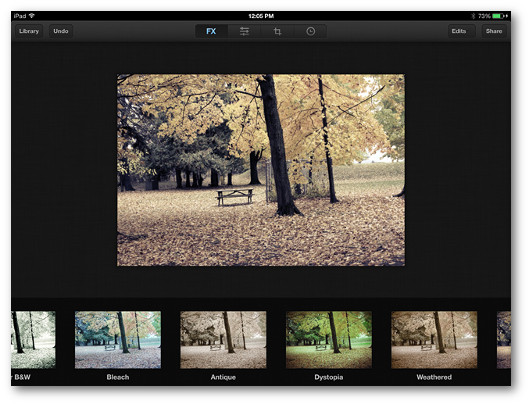 Schermata dell'applicazione Luminance per iPad
