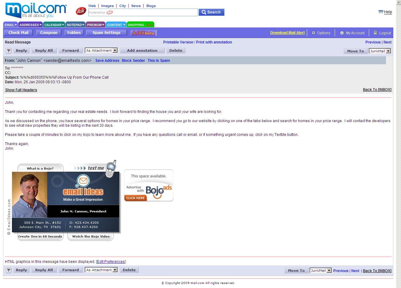 Schermata del servizio Mail.com