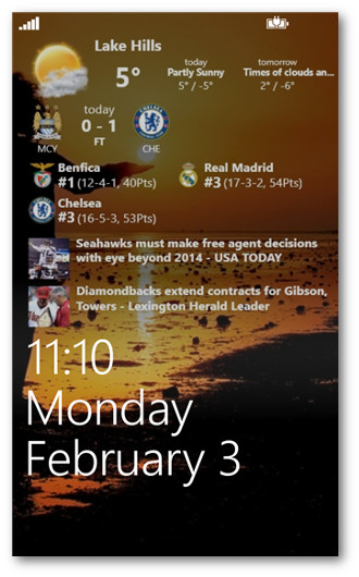 Schermata di lock screen di Windows Phone