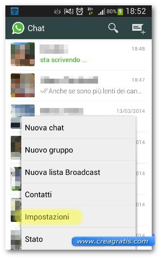 Schermata di accesso alle impostazioni di WhatsApp