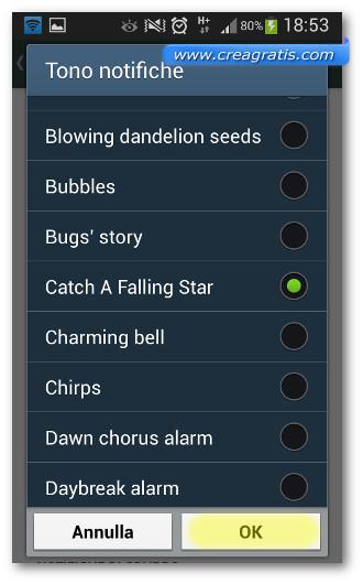 Schermata per cambiare la suoneria delle notifiche di WhatsApp