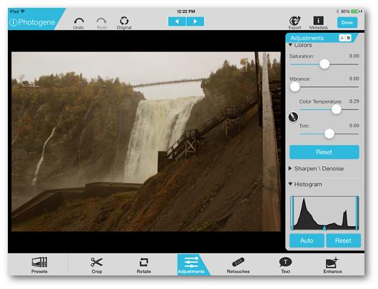 Schermata dell'applicazione Photogene per iPad