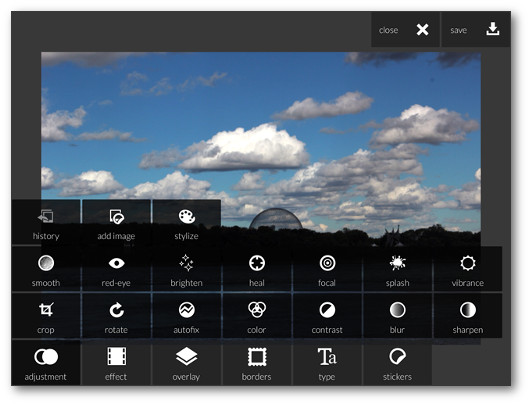 Schermata dell'applicazione Pixlr Express per iPad