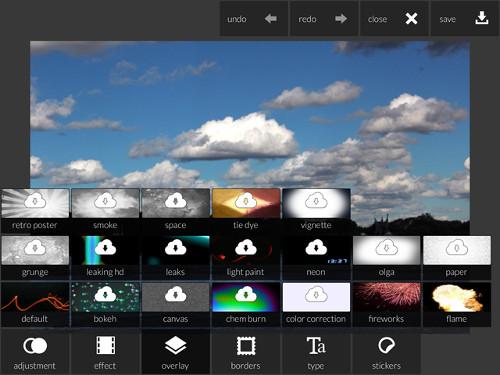 Schermata che mostra l'utilizzo dell'applicazione Pixlr Express