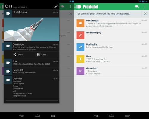 Schermata dell'applicazione Pushbullet