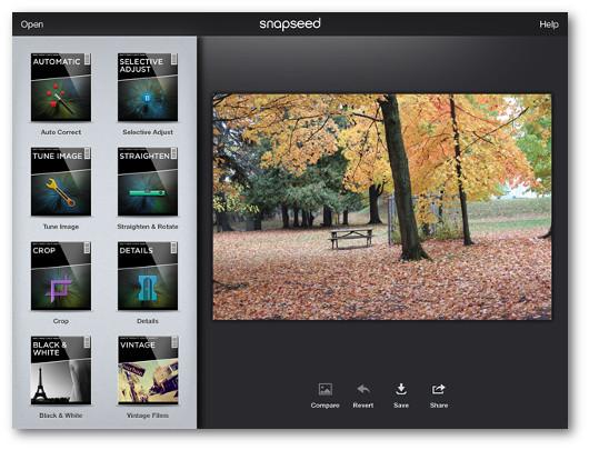 Schermata dell'applicazione Snapseed per iPad